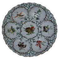 Antique Dresden Oyster Plate, Hand Painted Individual Scenes in Wells