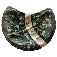 Antique Erdmann Schgelmilch Crescent Oyster Plate, Leaf Sprays & Pink Ribbon