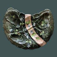 Antique Erdmann Schlegelmilch Crescent Oyster Plate, Leaf Sprays & Pink Ribbon