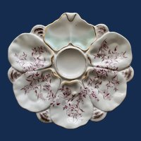 Antique Continental Fan Shaped Oyster Plate with Flowering Branches
