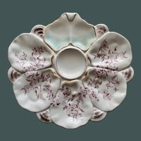 Antique Fan Shaped Oyster Plate with Flowering Branches