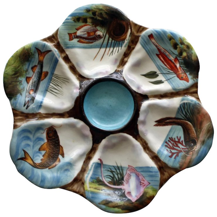 Antique Oyster Plate Hand Painted Fish in Inidual Wells  sc 1 st  Ruby Lane & Antique Oyster Plate: Hand Painted Fish in Inidual Wells : Camden ...