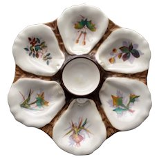 Antique Continental Oyster Plate, Hand Painted Botanicals