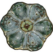 Antique Oyster Plate with Pond Lilies