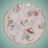 Antique French Limoges Oyster Plate, Gerard, Dufraisseix & Abbot, Rare Parrot Tulips