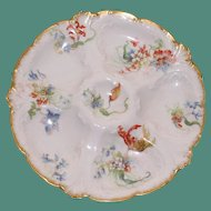 Antique French Limoges Oyster Plate, Gerard, Dufraisseix & Abbot Sold by Wright, Tyndale, Van Roden