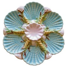 Antique George Jones Majolica Oyster Plate - Rare