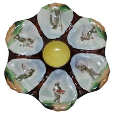 Antique Oyster Plate Featuring Fishing Gnomes