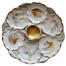 Antique French Limoges Charles Ahrenfeldt Oyster Plate, Ice Blue Luster snd Gilt