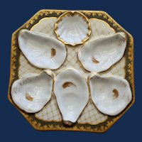Antique Continental Octagonal Oyster Plate, Decorated with Gold Netting