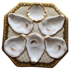 DUO Available :Antique Octagonal Oyster Plate with Gilt Netting