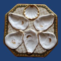 Antique Octagonal Oyster Plate w Gold Netting