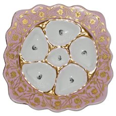 """Antique """"Square"""" Marx & Gutherz Austrian Oyster Plate, Sunset Pink & White"""