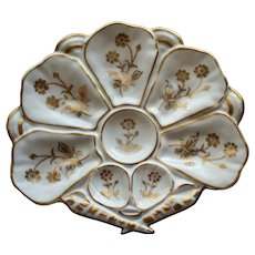 Antique Fan Shaped Continental Oyster Plate with Crossed Shells & Gilded Blooms, 2 Available