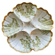 Antique French Fern Green and Gilt Oyster Plate by Tressemann and Vogt