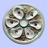 Antique Union Porcelain Works (UPW) Round Oyster Plate w Nautical Creatures - Outstanding