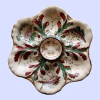 Antique Oyster Plate, Vivid Hand Painted Nautical Decorations