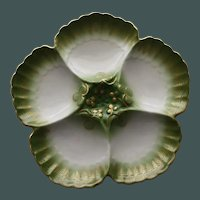 Antique Green & Gilt French Oyster Plate, Tressemanes & Vogt