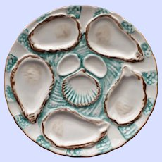 Antique French Haviland Limoges Green Oyster Plate (1877)