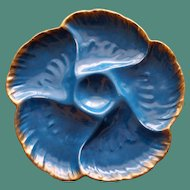 Antique Deep Teal French Limoges Oyster Plate, Charles Field Haviland