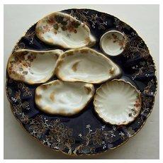 Antique Haviland Limoges Midnight Oyster Plate 1876-1889
