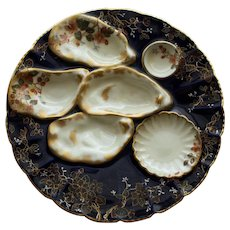 Antique Haviland Limoges Midnight Oyster Plate 1876-1889