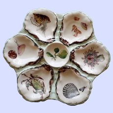 Antique Haviland Limoges Oyster Plate, Hand Painted Wells 1876-1886