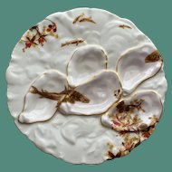 "Antique French Haviland Limoges ""Turkey"" Oyster Plate, Aesthetic, Swimming Fish"