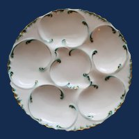 Antique French Haviland Limoges Oyster Plate, Green & Gilt Accents