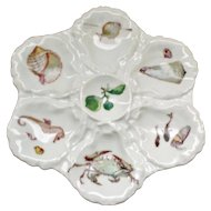 Antique Haviland Limoges Oyster Plate 1876-1886 Decorated with Sea Creatures