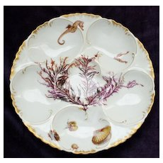 Antique Haviland Limoges Oyster Plate with Seaweed and Sea Creatures