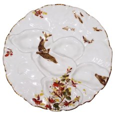 """Antique French Haviland Limoges """"Turkey"""" Form Oyster Plate, Fish and Floral Decorations"""