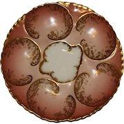 Antique Haviland Limoges Oyster Plate, Sunset Pink with Gilt Fish