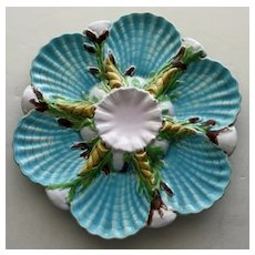 George Jones English Majolica Antique Oyster Plate - Stunning