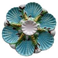 George Jones English Majolica Antique Oyster Plate - Stunning