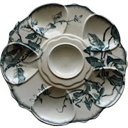 Antique French Transferware Oyster Plate by Jules Vieillard, Aesthetic