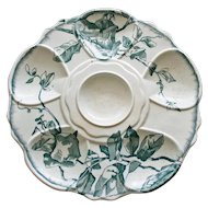 Antique Aesthetic French Oyster Plate with Asymmetric Floral Decoration by Jules Viellard