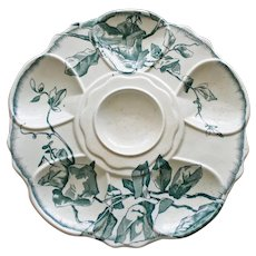 Antique Aesthetic French Oyster Plate with Asymmetric Floral Decoration by Jules Vieillard