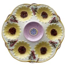 Antique Samuel Lear Majolica Sunflower Oyster Plate