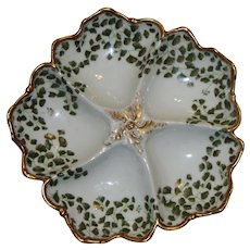 Antique French Oyster Plate (T & V) with Sea Leaves