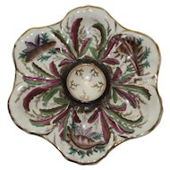 Antique Oyster Plate with Red and Green Leaves and Shells