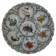 Antique Dresden Oyster Plate Featuring Lobster and Other Sealife