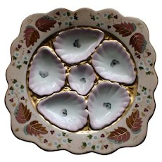 Antique Square Austrian Oyster Plate by Marx & Gutherz, Austria