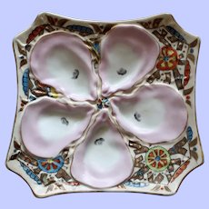 DUO available: Antique Stunning Marx & Gutherz (Carlsbad) Octagonal Oyster Plate, Pinwheel Design