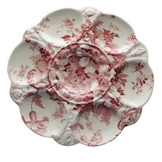 """Antique English Staffordshire """"Marguerite"""" Transferware Oyster Plate"""