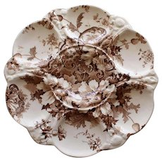"Antique Royal Staffordshire Brown Transferware Oyster Plate, ""Marguerite"", ""Burslem England"""