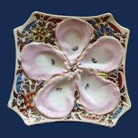 Antique Continental Stunning Marx & Gutherz Carlsbad Octagonal Oyster Plate, Pinwheel Design