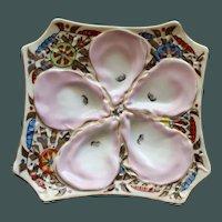 Antique Stunning Marx & Gutherz Carlsbad Octagonal Oyster Plate, Pinwheel Design