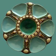 Antique Teal Minton Majolica Oyster Plate