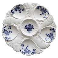 "Antique Minton ""Delft"" Oyster Plate with Fish Dividing Wells"